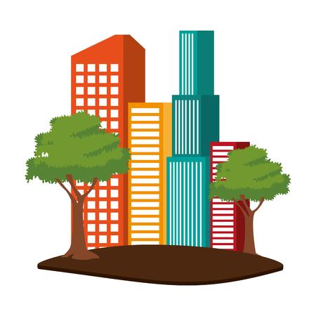 Edificios urbanos aislados ilustración vectorial diseño gráfico