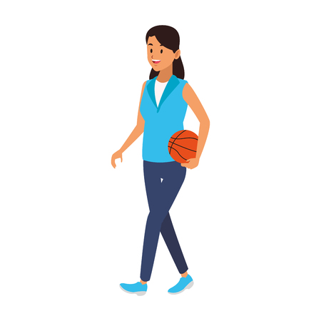 Young woman playing basketball vector illustration graphic design Stock Illustratie