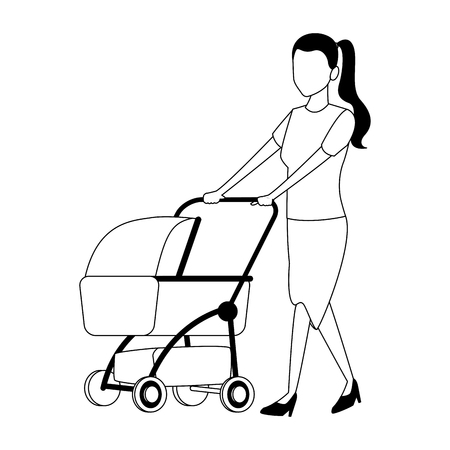 Mom with pram vector illustration graphic design