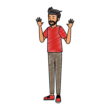 Young man cartoon vector illustration graphic design Vettoriali