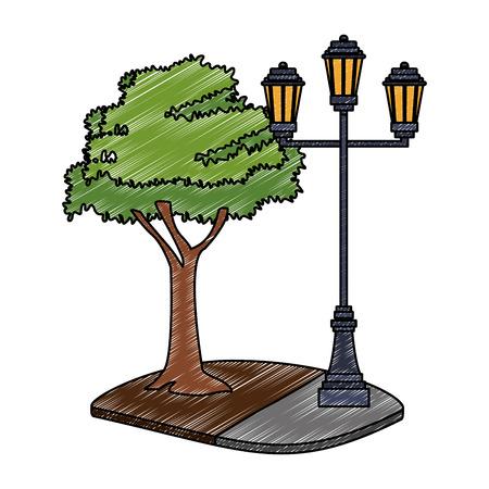 Streetlight in park vector illustration graphic design Illustration