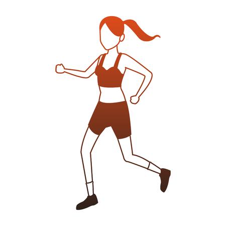 Fitness woman running vector illustration graphic design Illustration
