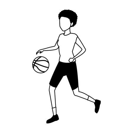 Mujer joven jugando baloncesto ilustración vectorial diseño gráfico