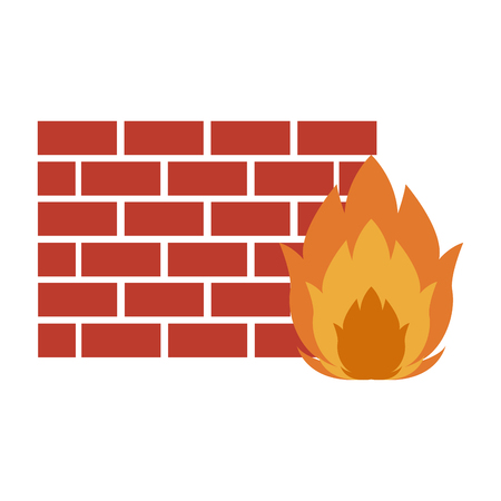 Firewall system technology vector illustration graphic design
