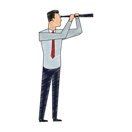 Businessman with telescope vector illustration graphic design