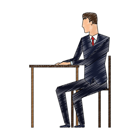 Businessman working in office vector illustration graphic design