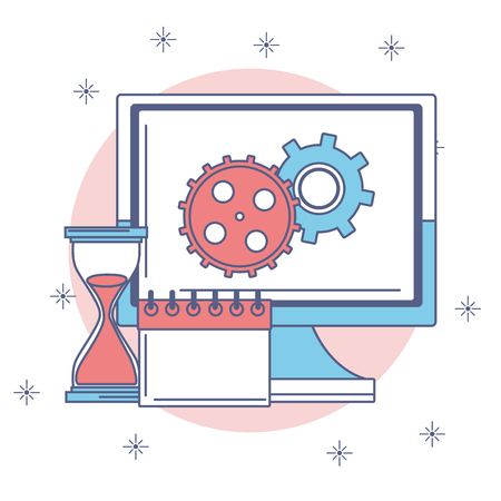 Gears in computer screen with hourglass and calendar vector illustration graphic design