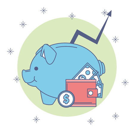 Piggy with wallet and money savings vector illustration graphic design Ilustração