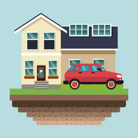 Solar panels in house roofs vector illustration graphic design Vettoriali