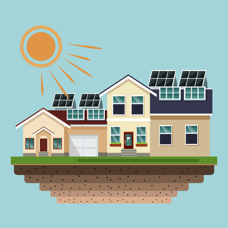 Houses with solar panels at roofs vector illustration graphic design Ilustração