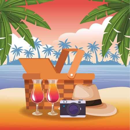 Beach and vacations cartoon elements vector illustration graphic design