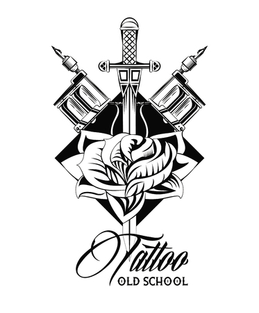 Old school tattoo with swords drawing design vector illustration graphic