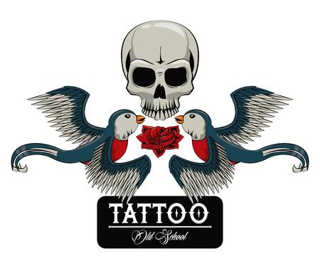 Old school tattoo with birds drawing design vector illustration graphic