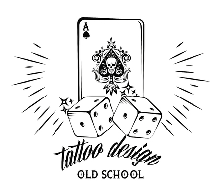 Old school tattoo with poker cards drawing design vector illustration graphic