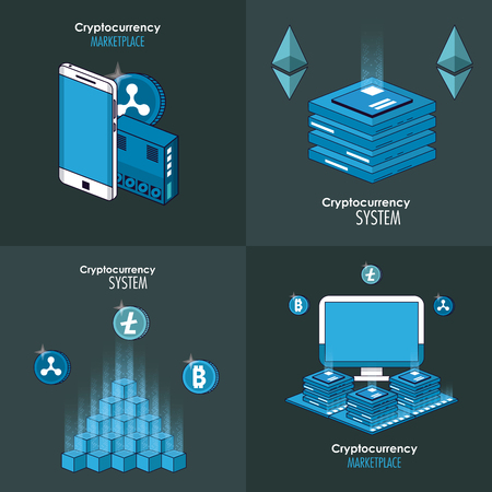 Cryptocurrency system and market place banner information vector illustration graphic design