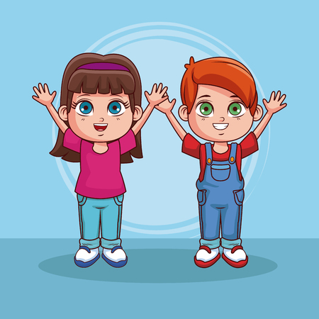 Cute couple of kids cartoons over colorful background vector illustration graphic design