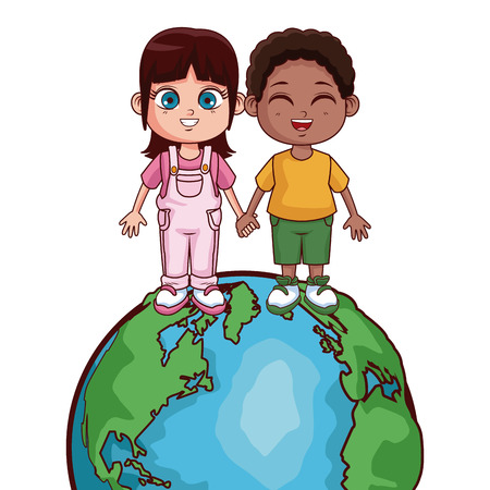 Kids saving world cartoons vector illustration graphic design