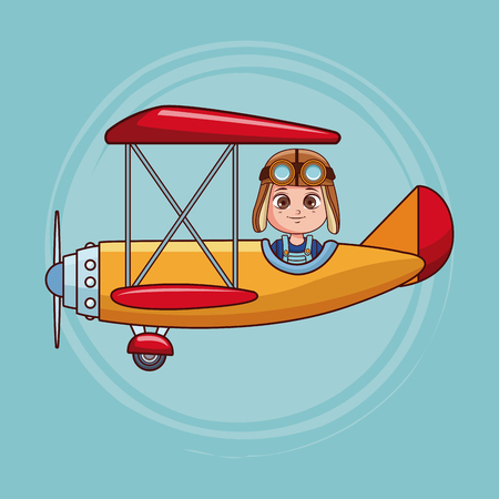 Cute boy flying vintage airplane cartoon vector illustration graphic design
