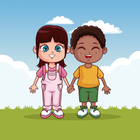 Cute kids couple in the park cartoons vector illustration graphic design
