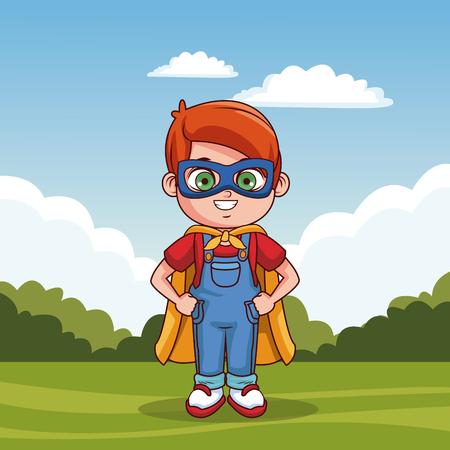 Cute boy with superhero costume cartoon vector illustration graphic design 일러스트