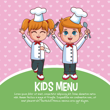Kids menu template with cartoons vector illustration graphic design Vectores