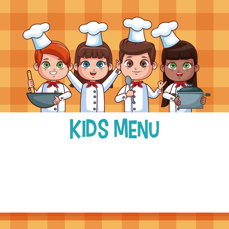 Kids menu template with cartoons vector illustration graphic design Stock Photo
