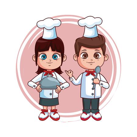 Cute chef kids teamwork cartoons vector illustration graphic design