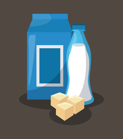 Milk box with bottle and cheese vector illustration graphic design Illustration