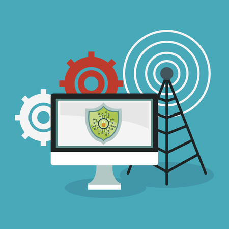 Secure computer with antenna and gears vector illustration graphic design