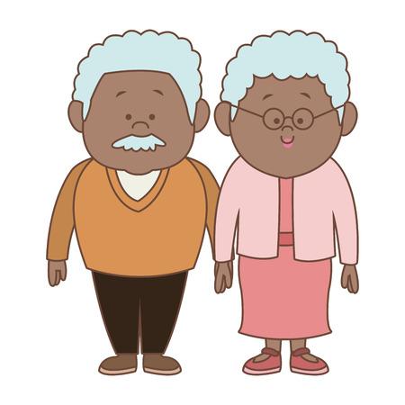 Beautiful grandparents couple cartoon vector illustration graphic design Stock Illustratie