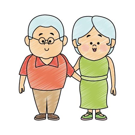 Beautiful grandparents couple cartoon vector illustration graphic design