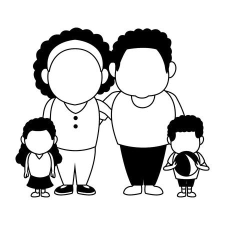 Cute parents with childrens afro family cartoons vector illustration graphic design