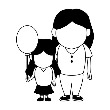 Mom and girl with balloon vector illustration graphic design Illustration
