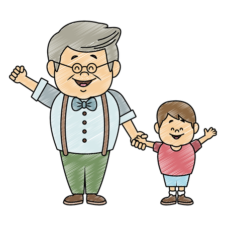 Cute grandfather with grandson vector illustration graphic design 向量圖像