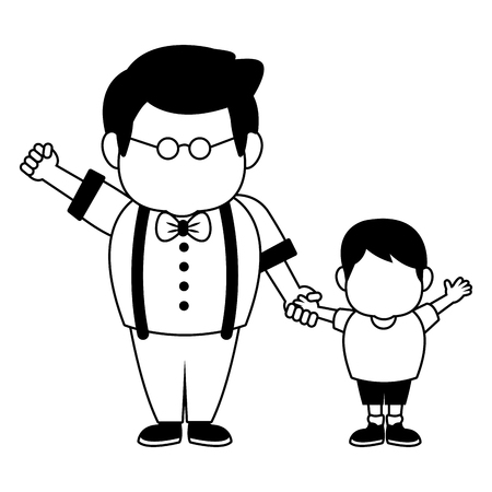 Cute grandfather with grandson vector illustration graphic design 矢量图像