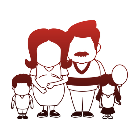Pregnant mom and father with kids vector illustration graphic design