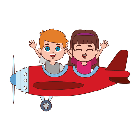 Cute kids flying with airplane vector illustration graphic design Illustration