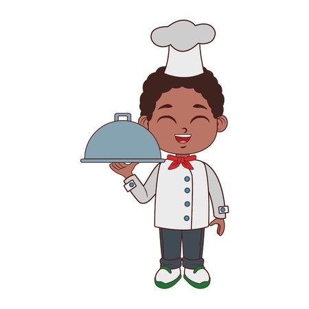 Cute chef boy cartoon vector illustration graphic design Illustration