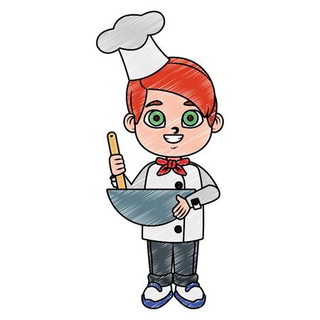 Cute chef boy cartoon vector illustration graphic design Vettoriali