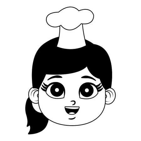 Beautiful chef girl cartoon vector illustration graphic design Vectores