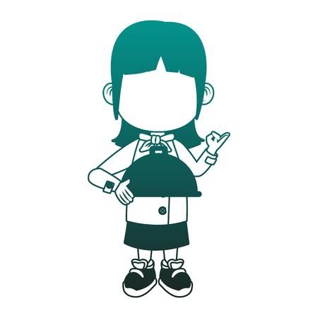 Beautiful chef girl cartoon vector illustration graphic design Vettoriali