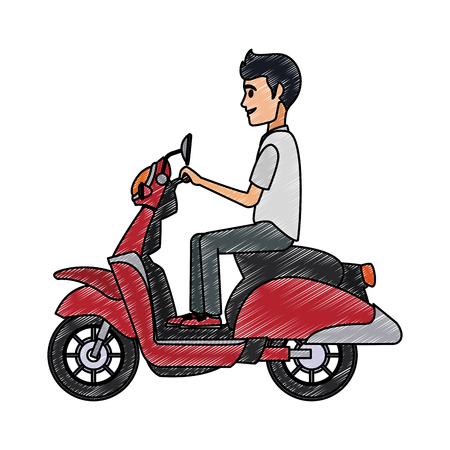 Man driving scooter vector illustration graphic design