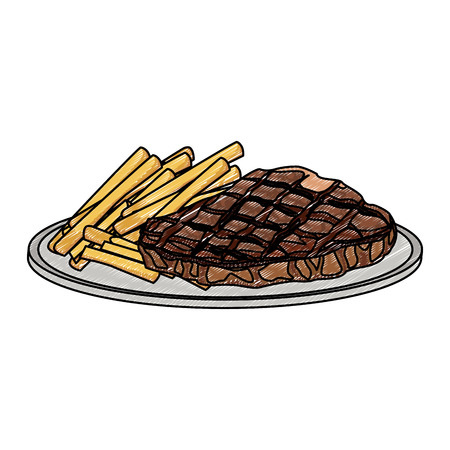Beef steak with fries vector illustration graphic design