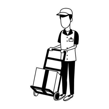 Courier with handtruck vector illustration graphic design