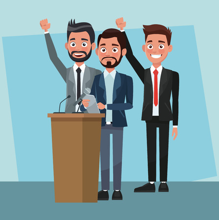 Politician speaking with microphone in campaign cartoons vector illustration graphic design
