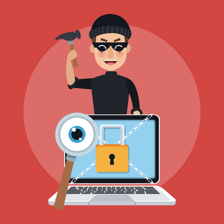 Hacker with hammer and laptop vector illustration graphic design