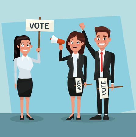Politicians teamwork in vote campaign cartoons vector illustration graphic design