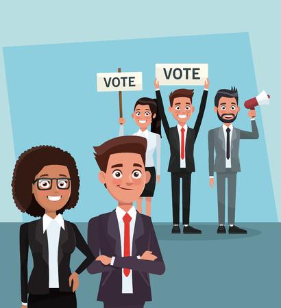 Travail d'équipe de politiciens dans les dessins animés de campagne de vote vector illustration graphisme Vecteurs