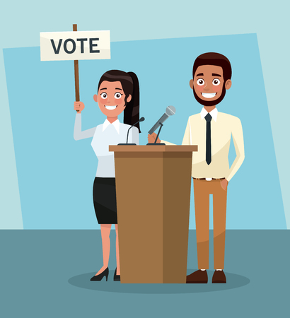 Politicians teamwork in vote campaign cartoons vector illustration graphic design