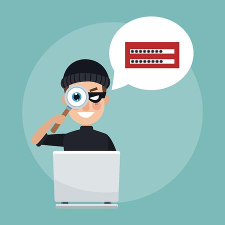 Hacker with laptop password cartoon vector illustration graphic design Illustration